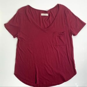 ABERCROMBIE & FITCH WOMEN'S V-NECK  TEE